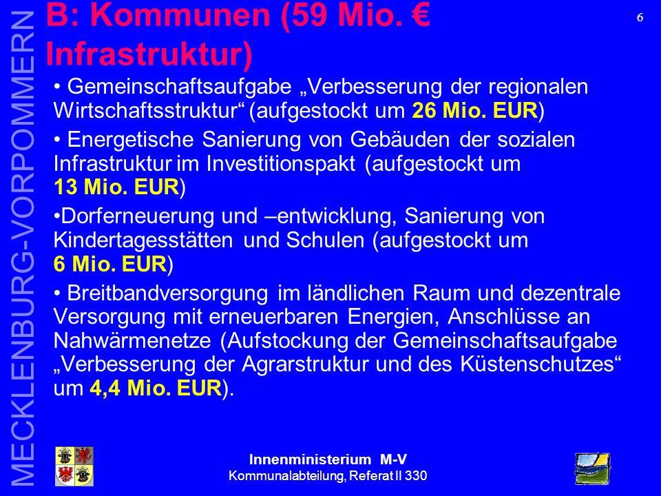 Innenministerium M-V Kommunalabteilung, Referat II 330 MECKLENBURG-VORPOMMERN 17 Pauschalzuweisungen an kommunale Körperschaften = 130,6 Mio.