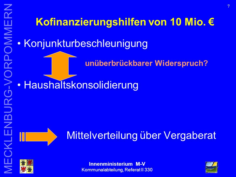 Innenministerium M-V Kommunalabteilung, Referat II 330 MECKLENBURG-VORPOMMERN Folgen der Änderung des Art.