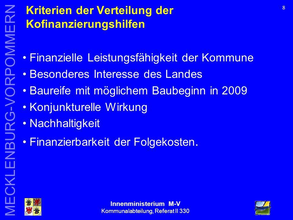 Innenministerium M-V Kommunalabteilung, Referat II 330 MECKLENBURG-VORPOMMERN 9 Ergebnisse der Vergaberatsentscheidungen (total) Ressort Anträge (Anzahl) Beantragtes Kofinanzierungsvolumen in Mio.