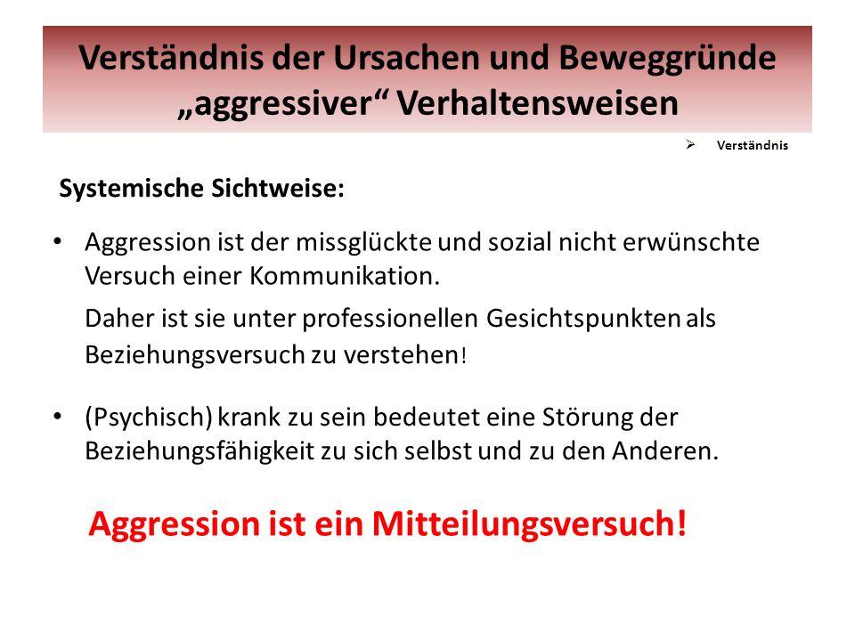 Systemische Sichtweise: Aggression ist der missglückte und sozial nicht erwünschte Versuch einer Kommunikation. Daher ist sie unter professionellen Ge