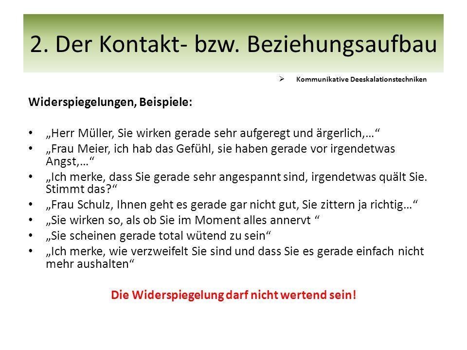 """Widerspiegelungen, Beispiele: """"Herr Müller, Sie wirken gerade sehr aufgeregt und ärgerlich,…"""" """"Frau Meier, ich hab das Gefühl, sie haben gerade vor ir"""
