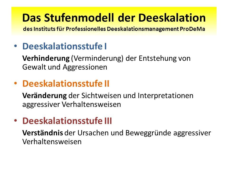 Das Stufenmodell der Deeskalation des Instituts für Professionelles Deeskalationsmanagement ProDeMa Deeskalationsstufe I Verhinderung (Verminderung) d