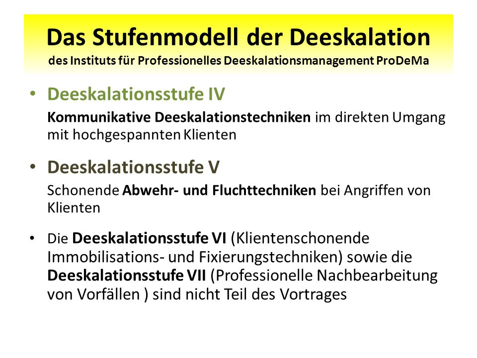 Das Stufenmodell der Deeskalation des Instituts für Professionelles Deeskalationsmanagement ProDeMa Deeskalationsstufe IV Kommunikative Deeskalationst