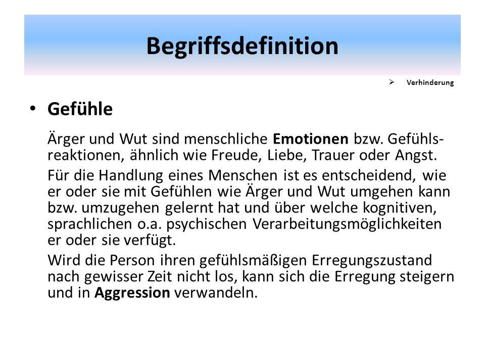 Begriffsdefinition Gefühle Ärger und Wut sind menschliche Emotionen bzw. Gefühls- reaktionen, ähnlich wie Freude, Liebe, Trauer oder Angst. Für die Ha
