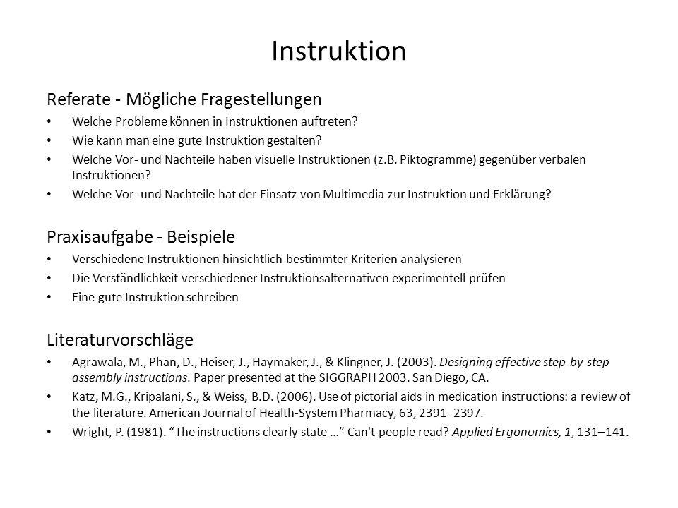 Instruktion Referate - Mögliche Fragestellungen Welche Probleme können in Instruktionen auftreten.