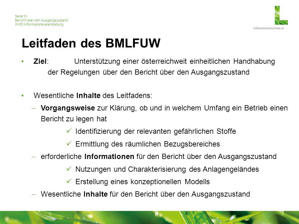 Seite 10 Bericht über den Ausgangszustand WKO Informationsveranstaltung Leitfaden des BMLFUW Ziel: Unterstützung einer österreichweit einheitlichen Ha