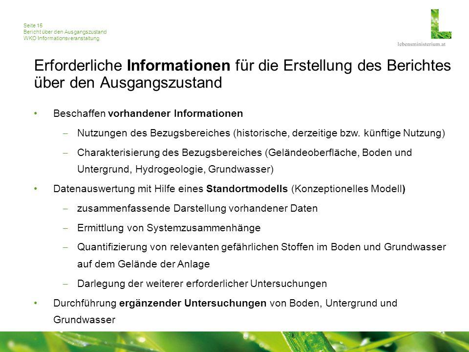 Seite 15 Bericht über den Ausgangszustand WKO Informationsveranstaltung Erforderliche Informationen für die Erstellung des Berichtes über den Ausgangs