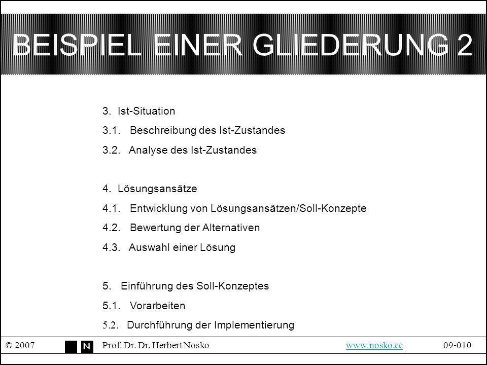 BEISPIEL EINER GLIEDERUNG 2 © 2007Prof. Dr. Dr. Herbert Noskowww.nosko.cc09-010www.nosko.cc 3. Ist-Situation 3.1. Beschreibung des Ist-Zustandes 3.2.