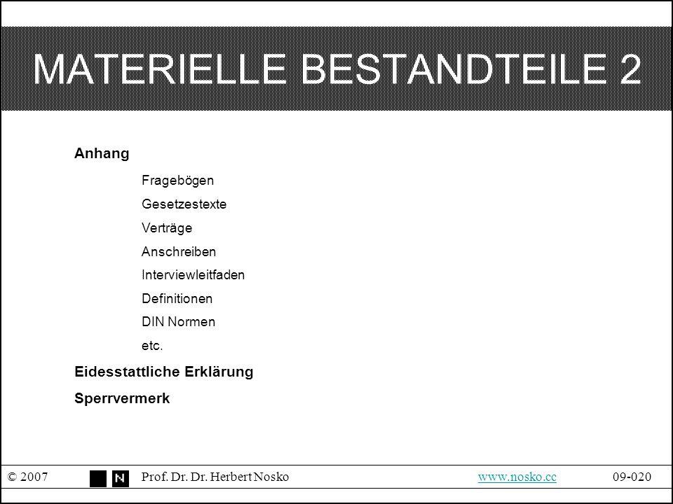 MATERIELLE BESTANDTEILE 2 © 2007Prof. Dr. Dr. Herbert Noskowww.nosko.cc09-020www.nosko.cc Anhang Fragebögen Gesetzestexte Verträge Anschreiben Intervi