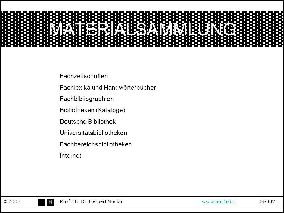 MATERIALSAMMLUNG © 2007Prof. Dr. Dr. Herbert Noskowww.nosko.cc09-007www.nosko.cc Fachzeitschriften Fachlexika und Handwörterbücher Fachbibliographien