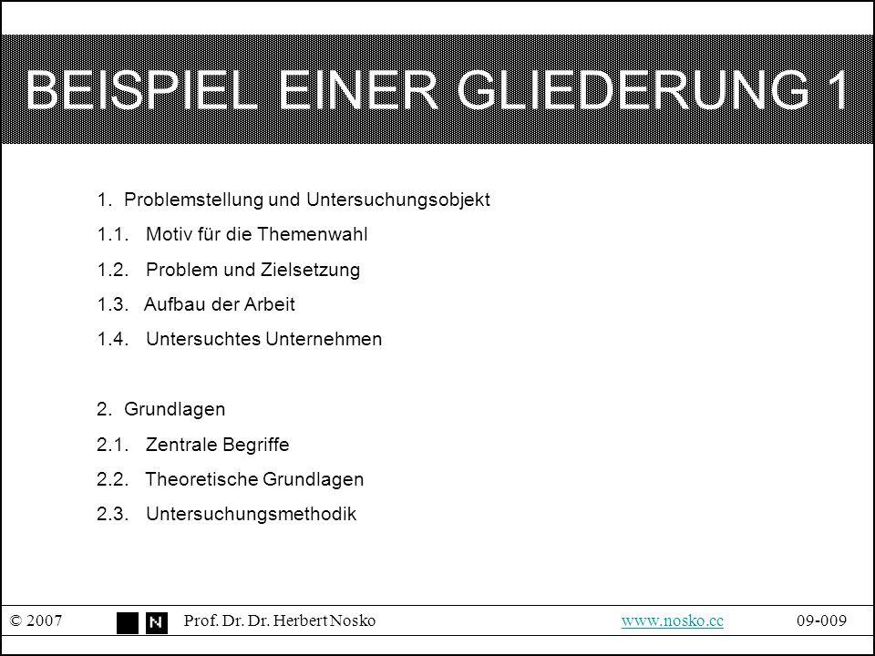 BEISPIEL EINER GLIEDERUNG 1 © 2007Prof. Dr. Dr. Herbert Noskowww.nosko.cc09-009www.nosko.cc 1. Problemstellung und Untersuchungsobjekt 1.1. Motiv für