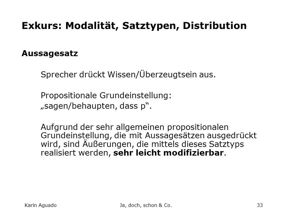 Karin AguadoJa, doch, schon & Co.33 Exkurs: Modalität, Satztypen, Distribution Aussagesatz Sprecher drückt Wissen/Überzeugtsein aus.