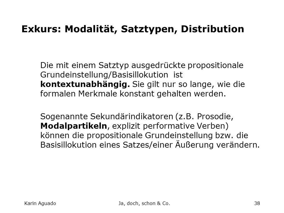 Karin AguadoJa, doch, schon & Co.38 Exkurs: Modalität, Satztypen, Distribution Die mit einem Satztyp ausgedrückte propositionale Grundeinstellung/Basisillokution ist kontextunabhängig.