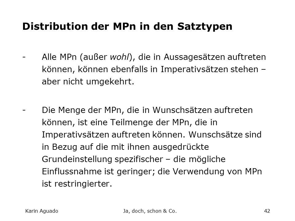Karin AguadoJa, doch, schon & Co.42 Distribution der MPn in den Satztypen -Alle MPn (außer wohl), die in Aussagesätzen auftreten können, können ebenfalls in Imperativsätzen stehen – aber nicht umgekehrt.