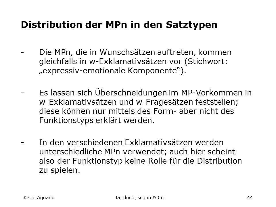 """Karin AguadoJa, doch, schon & Co.44 Distribution der MPn in den Satztypen -Die MPn, die in Wunschsätzen auftreten, kommen gleichfalls in w-Exklamativsätzen vor (Stichwort: """"expressiv-emotionale Komponente )."""