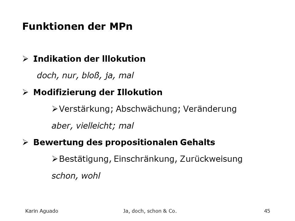 Karin AguadoJa, doch, schon & Co.45 Funktionen der MPn  Indikation der lllokution doch, nur, bloß, ja, mal  Modifizierung der Illokution  Verstärkung; Abschwächung; Veränderung aber, vielleicht; mal  Bewertung des propositionalen Gehalts  Bestätigung, Einschränkung, Zurückweisung schon, wohl