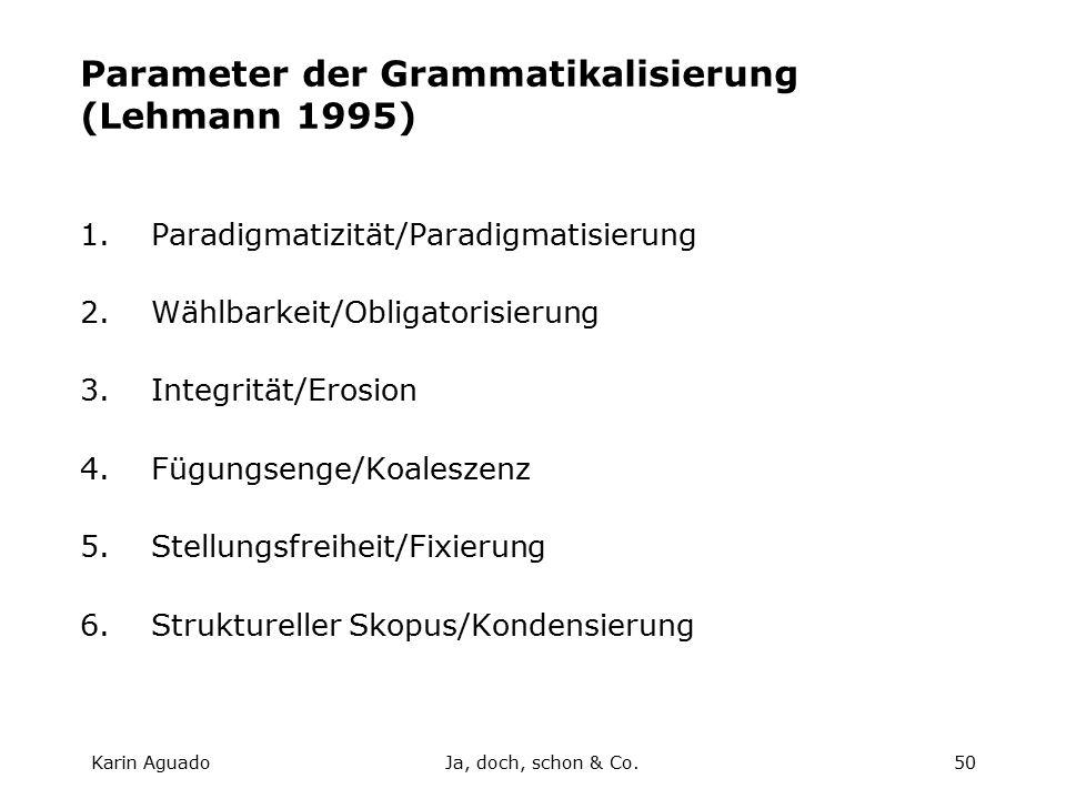 Karin AguadoJa, doch, schon & Co.50 Parameter der Grammatikalisierung (Lehmann 1995) 1.Paradigmatizität/Paradigmatisierung 2.Wählbarkeit/Obligatorisierung 3.Integrität/Erosion 4.Fügungsenge/Koaleszenz 5.Stellungsfreiheit/Fixierung 6.Struktureller Skopus/Kondensierung