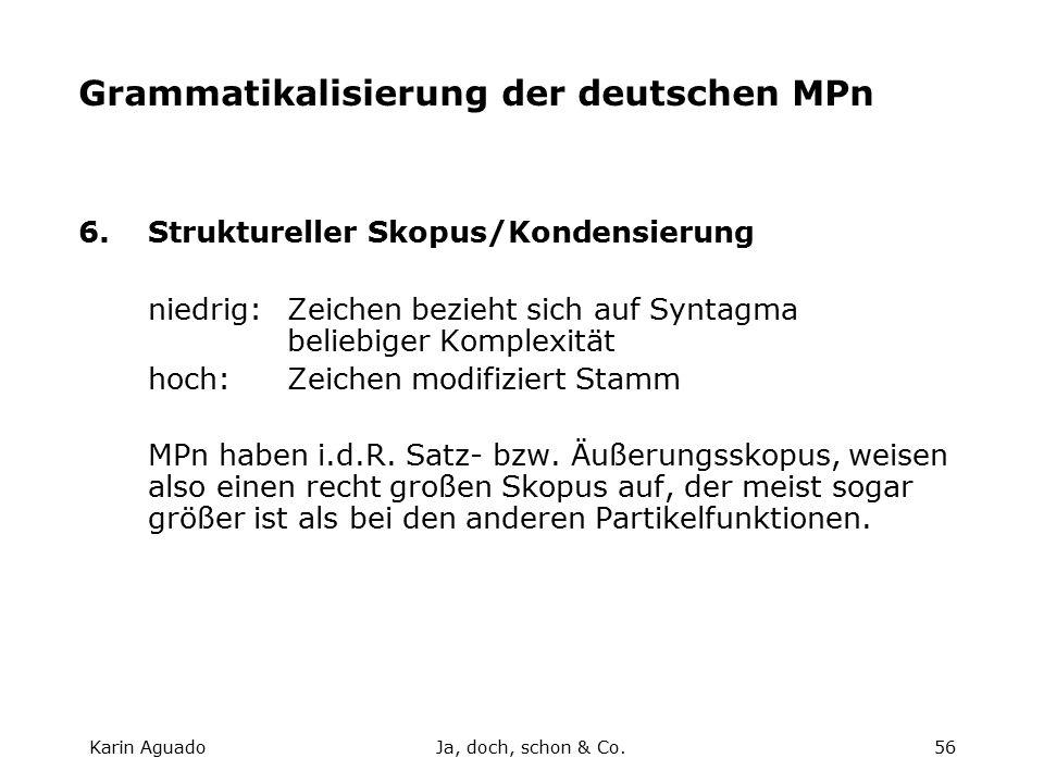 Karin AguadoJa, doch, schon & Co.56 Grammatikalisierung der deutschen MPn 6.Struktureller Skopus/Kondensierung niedrig:Zeichen bezieht sich auf Syntagma beliebiger Komplexität hoch:Zeichen modifiziert Stamm MPn haben i.d.R.