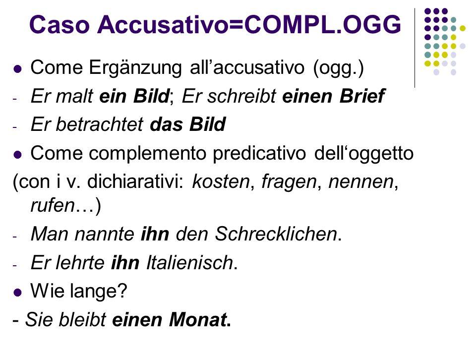 Caso Accusativo=COMPL.OGG Come Ergänzung all'accusativo (ogg.) - Er malt ein Bild; Er schreibt einen Brief - Er betrachtet das Bild Come complemento predicativo dell'oggetto (con i v.