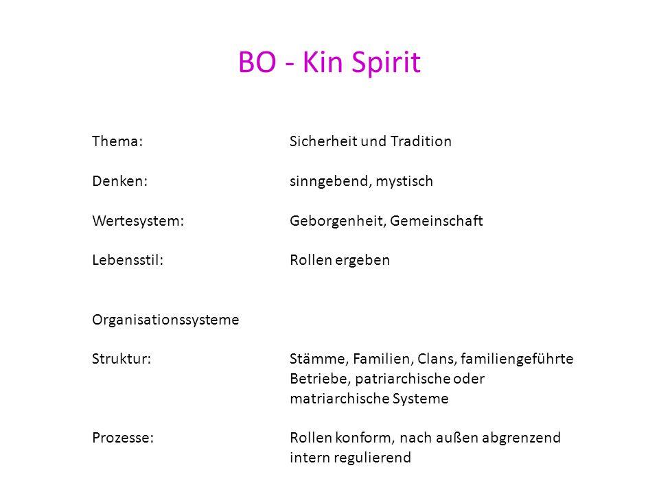 BO - Kin Spirit Thema: Sicherheit und Tradition Denken: sinngebend, mystisch Wertesystem: Geborgenheit, Gemeinschaft Lebensstil: Rollen ergeben Organi