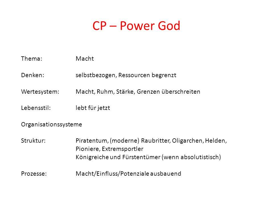CP – Power God Thema: Macht Denken: selbstbezogen, Ressourcen begrenzt Wertesystem: Macht, Ruhm, Stärke, Grenzen überschreiten Lebensstil: lebt für je