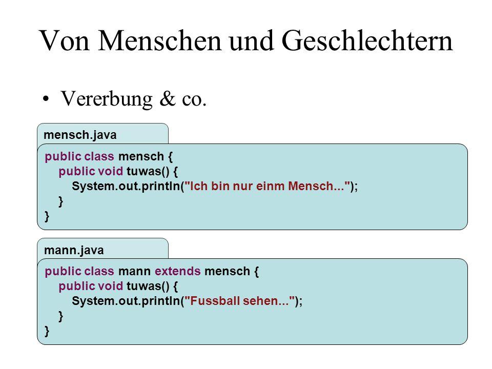 mann.java mensch.java Von Menschen und Geschlechtern Vererbung & co.