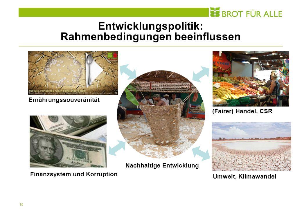 10 Nachhaltige Entwicklung Ernährungssouveränität (Fairer) Handel, CSR Finanzsystem und Korruption Umwelt, Klimawandel Entwicklungspolitik: Rahmenbedingungen beeinflussen
