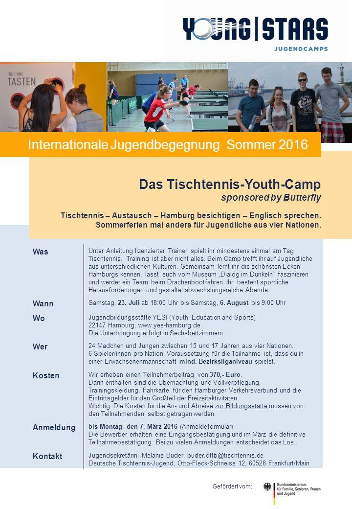 Das Tischtennis-Youth-Camp sponsored by Butterfly Tischtennis – Austausch – Hamburg besichtigen – Englisch sprechen. Sommerferien mal anders für Jugen