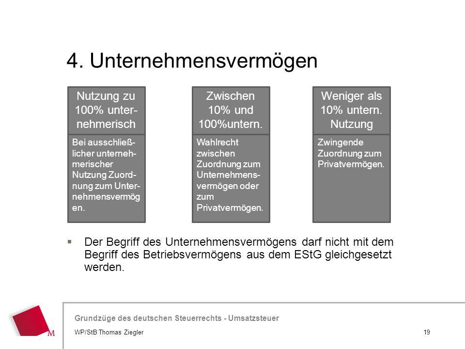Hier wird der Titel der Präsentation wiederholt (Ansicht >Folienmaster) Grundzüge des deutschen Steuerrechts - Umsatzsteuer 4. Unternehmensvermögen 