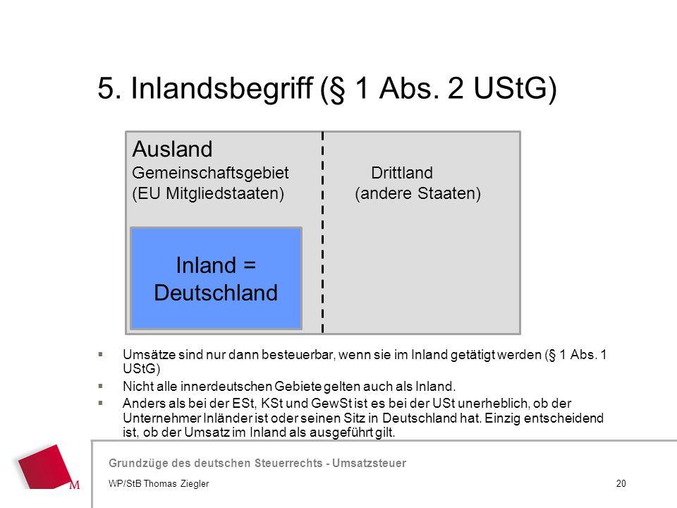Hier wird der Titel der Präsentation wiederholt (Ansicht >Folienmaster) Grundzüge des deutschen Steuerrechts - Umsatzsteuer 5. Inlandsbegriff (§ 1 Abs