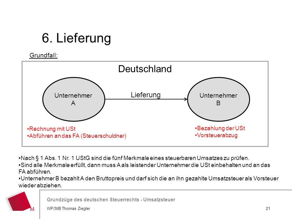 Hier wird der Titel der Präsentation wiederholt (Ansicht >Folienmaster) Grundzüge des deutschen Steuerrechts - Umsatzsteuer 6. Lieferung 21WP/StB Thom