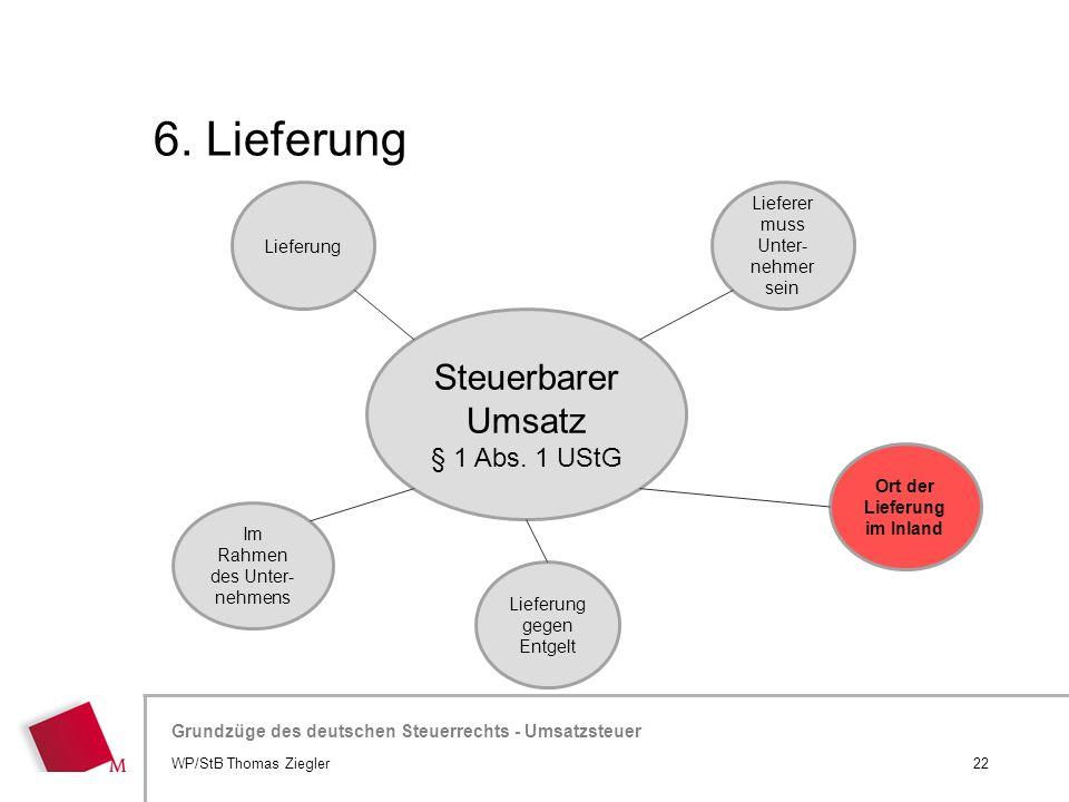 Hier wird der Titel der Präsentation wiederholt (Ansicht >Folienmaster) Grundzüge des deutschen Steuerrechts - Umsatzsteuer 6. Lieferung 22WP/StB Thom