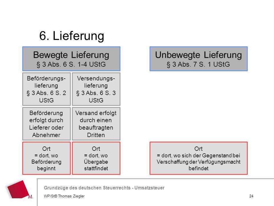 Hier wird der Titel der Präsentation wiederholt (Ansicht >Folienmaster) Grundzüge des deutschen Steuerrechts - Umsatzsteuer 6. Lieferung 24WP/StB Thom