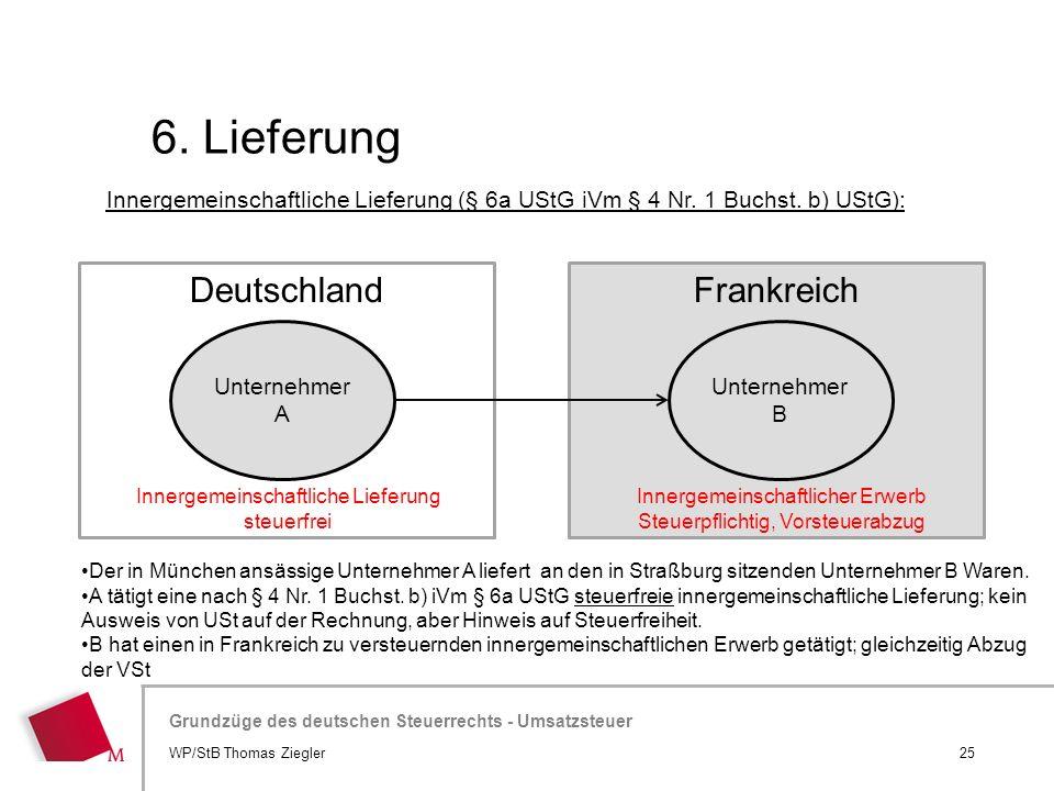 Hier wird der Titel der Präsentation wiederholt (Ansicht >Folienmaster) Grundzüge des deutschen Steuerrechts - Umsatzsteuer FrankreichDeutschland 6. L