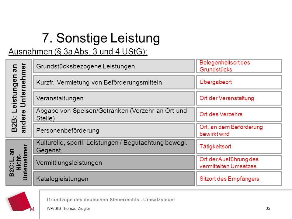 Hier wird der Titel der Präsentation wiederholt (Ansicht >Folienmaster) Grundzüge des deutschen Steuerrechts - Umsatzsteuer 7. Sonstige Leistung 35WP/