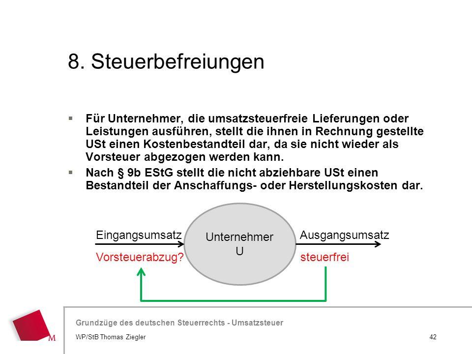 Hier wird der Titel der Präsentation wiederholt (Ansicht >Folienmaster) Grundzüge des deutschen Steuerrechts - Umsatzsteuer 8. Steuerbefreiungen  Für