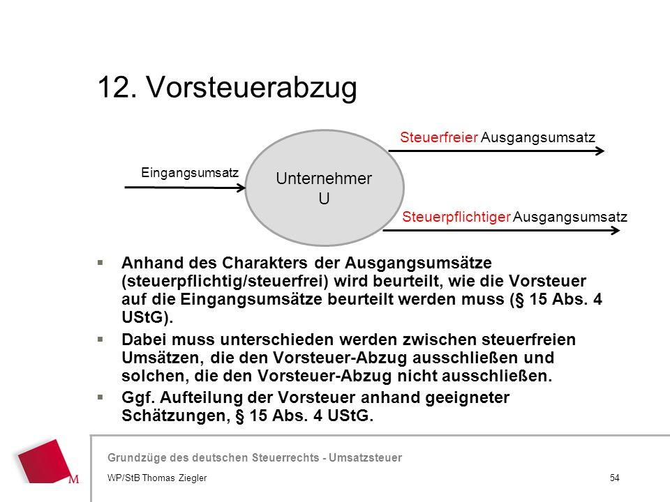 Hier wird der Titel der Präsentation wiederholt (Ansicht >Folienmaster) Grundzüge des deutschen Steuerrechts - Umsatzsteuer 12. Vorsteuerabzug  Anhan
