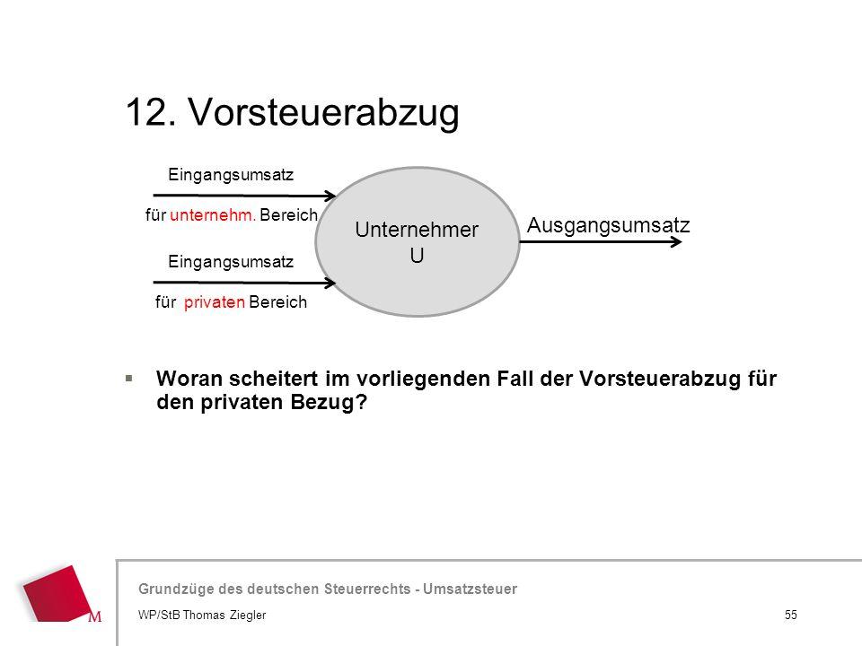 Hier wird der Titel der Präsentation wiederholt (Ansicht >Folienmaster) Grundzüge des deutschen Steuerrechts - Umsatzsteuer 12. Vorsteuerabzug  Woran