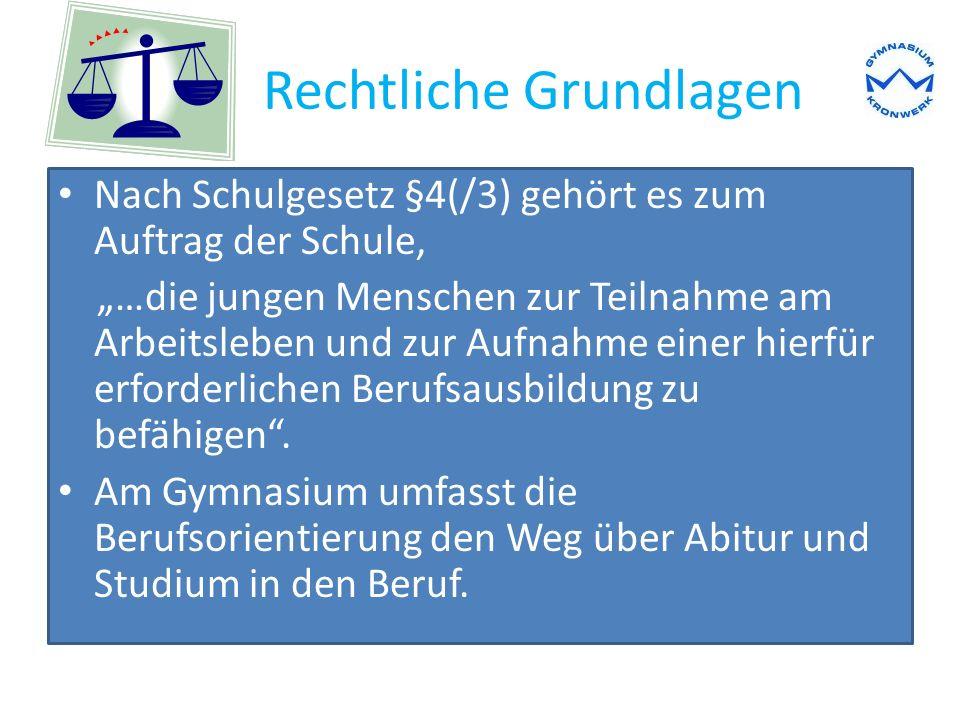 """Rechtliche Grundlagen Nach Schulgesetz §4(/3) gehört es zum Auftrag der Schule, """"…die jungen Menschen zur Teilnahme am Arbeitsleben und zur Aufnahme einer hierfür erforderlichen Berufsausbildung zu befähigen ."""
