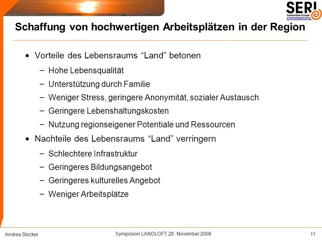 """Symposion LANDLOFT, 28. November 2008 Andrea Stocker Schaffung von hochwertigen Arbeitsplätzen in der Region  Vorteile des Lebensraums """"Land"""" betonen"""
