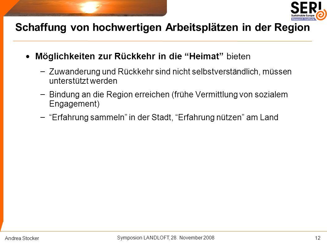 """Symposion LANDLOFT, 28. November 2008 Andrea Stocker Schaffung von hochwertigen Arbeitsplätzen in der Region  Möglichkeiten zur Rückkehr in die """"Heim"""