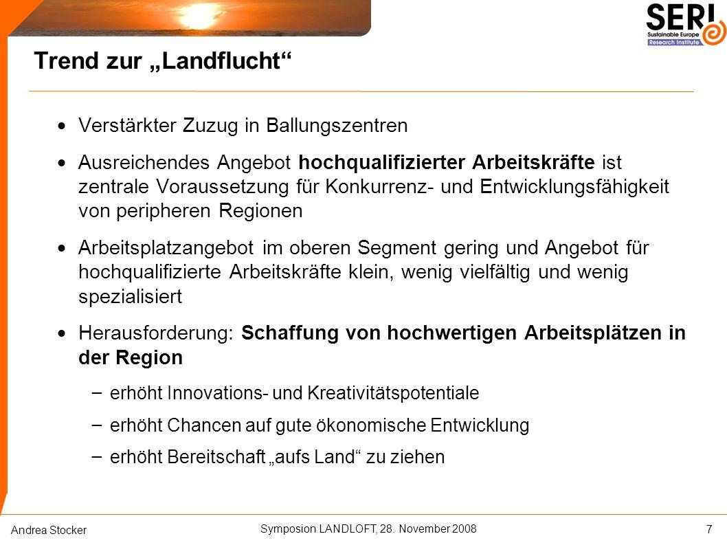 """Symposion LANDLOFT, 28. November 2008 Andrea Stocker Trend zur """"Landflucht""""  Verstärkter Zuzug in Ballungszentren  Ausreichendes Angebot hochqualifi"""