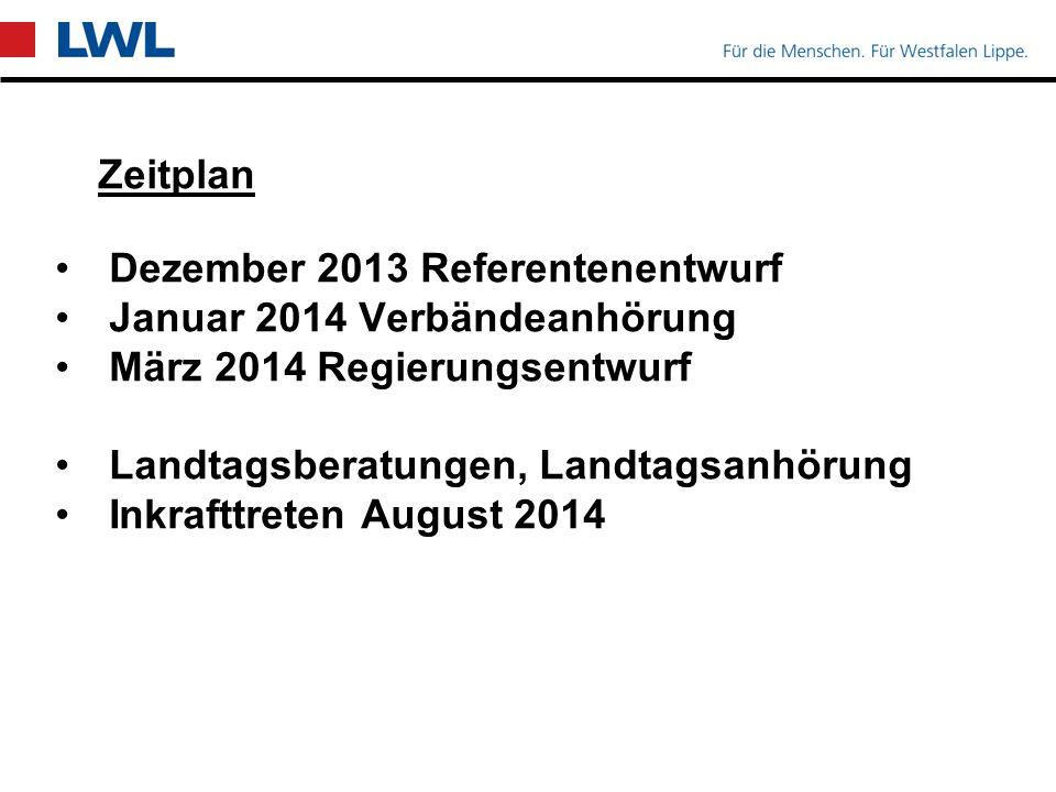 Zeitplan Dezember 2013 Referentenentwurf Januar 2014 Verbändeanhörung März 2014 Regierungsentwurf Landtagsberatungen, Landtagsanhörung Inkrafttreten August 2014