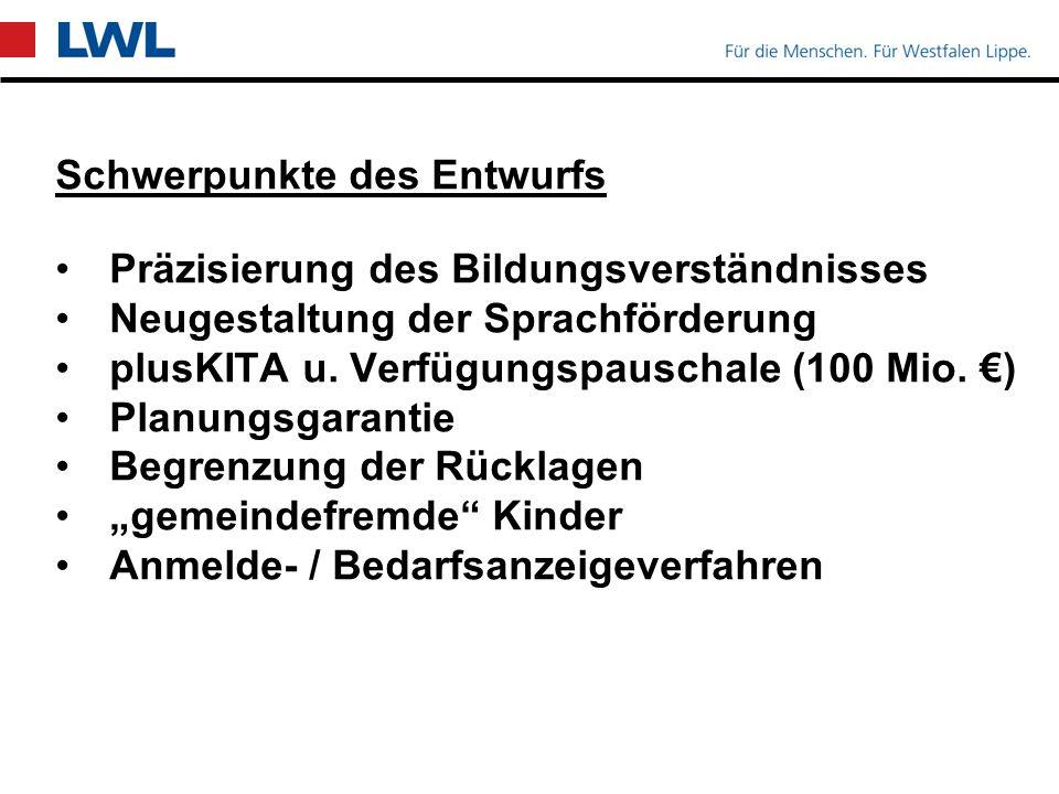 LWL-Regelungen / Kinder mit Behinderung Heilpädagogische Kitas: 45 Std.
