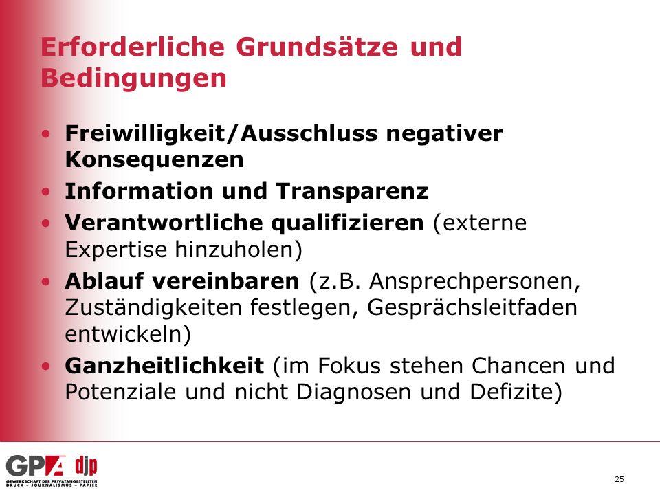Erforderliche Grundsätze und Bedingungen Freiwilligkeit/Ausschluss negativer Konsequenzen Information und Transparenz Verantwortliche qualifizieren (e