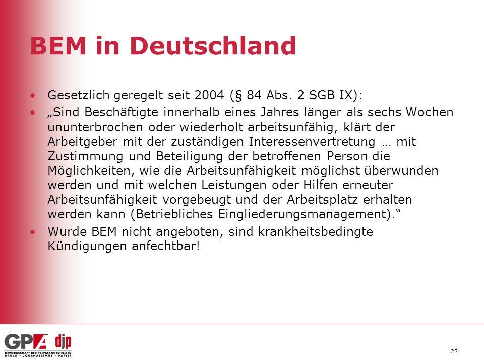"""BEM in Deutschland Gesetzlich geregelt seit 2004 (§ 84 Abs. 2 SGB IX): """"Sind Beschäftigte innerhalb eines Jahres länger als sechs Wochen ununterbroche"""