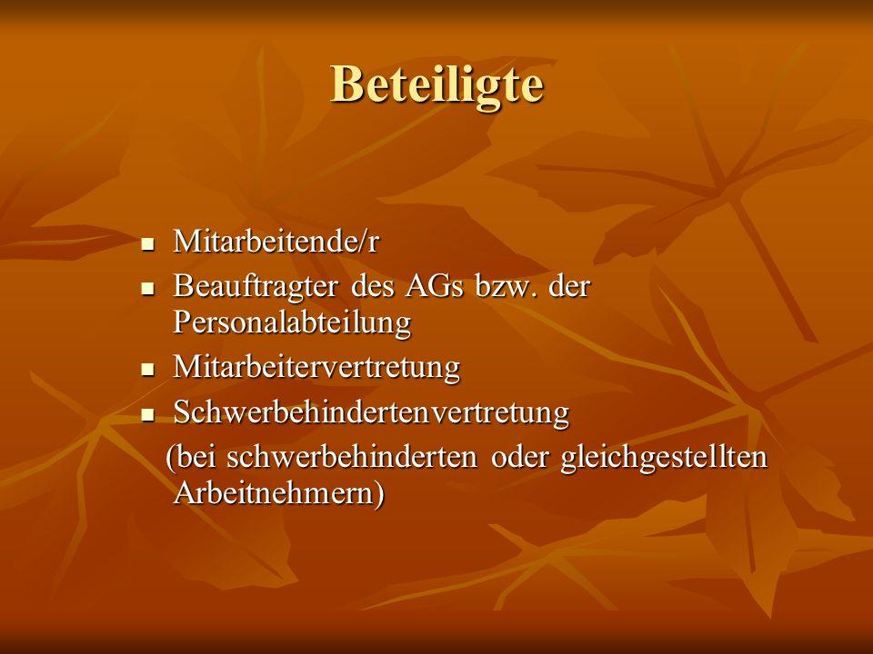 Beteiligte Mitarbeitende/r Mitarbeitende/r Beauftragter des AGs bzw.