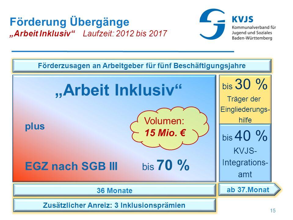 """Förderung Übergänge """"Arbeit Inklusiv"""" Laufzeit: 2012 bis 2017 bis 40 % KVJS- Integrations- amt bis 30 % Träger der Eingliederungs- hilfe 36 Monate ab"""