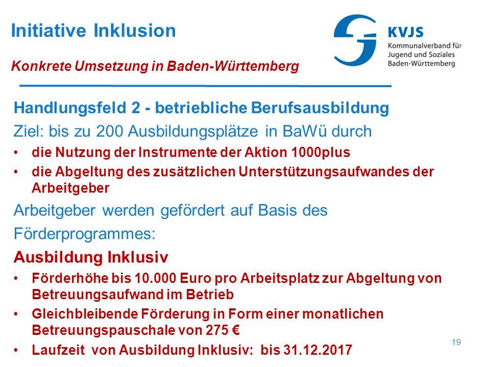 Initiative Inklusion Konkrete Umsetzung in Baden-Württemberg Handlungsfeld 2 - betriebliche Berufsausbildung Ziel: bis zu 200 Ausbildungsplätze in BaW