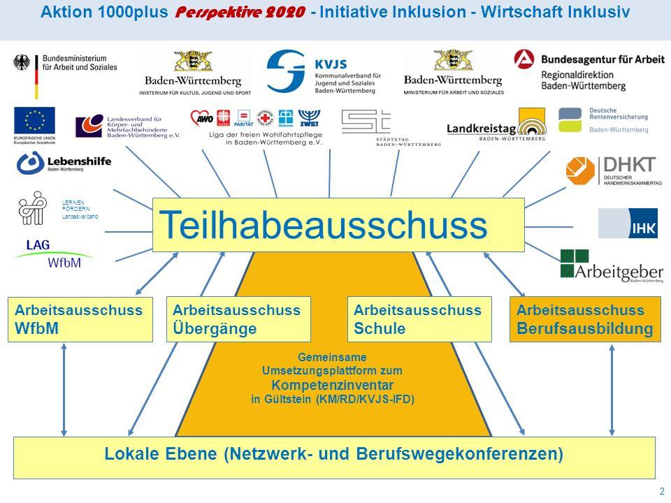 Aktion 1000 (2005 – 2008) Entwicklungen und Vereinbarungen Teil 1 1.Integrationsfachdienste (IFD) durchgehend beauftragt 2005 2.Integrationsunternehmen verstärkt auf- und ausgebaut 2005 3.BVE und KoBV starten als ESF- co-finanzierte Modelle 2005 4.Teilhabeausschuss und Arbeitsausschüsse eingerichtet 2006 5.Netzwerk- und Berufswegekonferenzen starten 2006 6.Teilhabeplan wird entwickelt und schrittweise eingeführt 2007 7.Gemeinsame Grundlagen zur Förderung von Übergängen….
